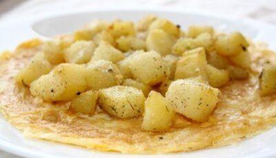 Cartofi cu mazăre pe omletă