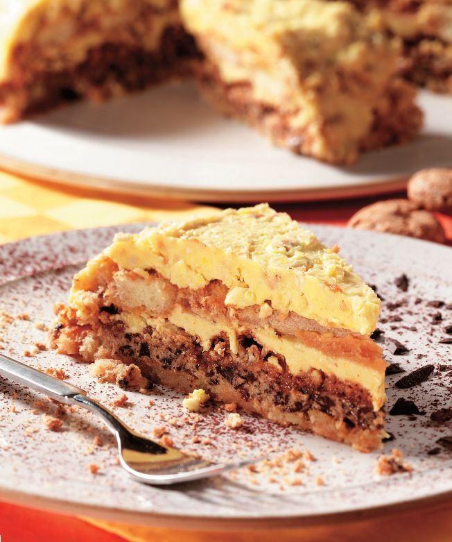 Prăjitură cu cremă de ciocolată, cafea şi migdale