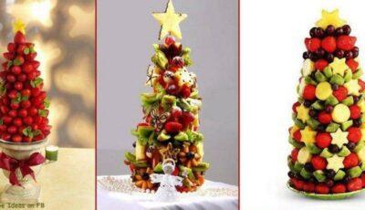 Brăduț original din fructe pentru masa de Revelion