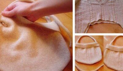 Transformă puloverul vechi într-o gentuță nouă!