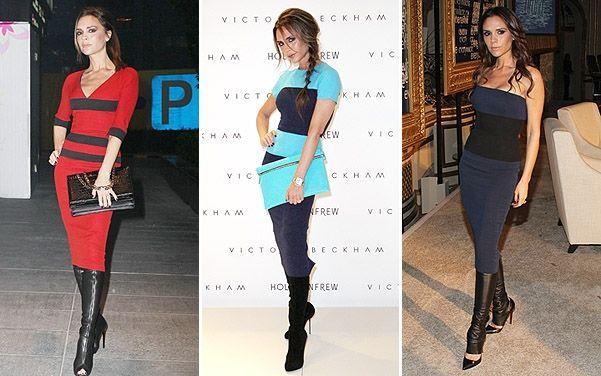 Victoria Beckham allures in bright turquoise and black for Fashion Line Launch