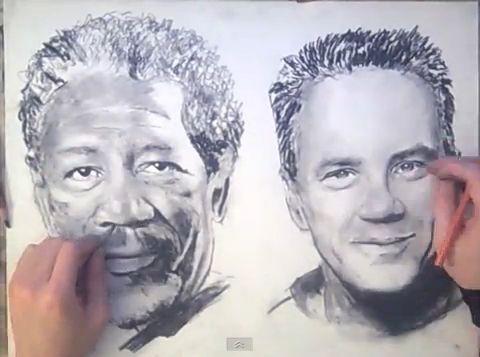 Desenează cu ambele mâini deodată