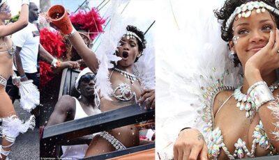 Rihanna în costum sumar la carnaval! Poze
