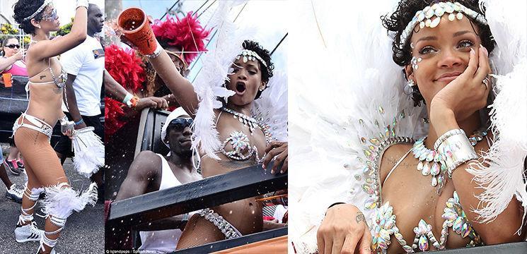 Foto: Rihanna în costum sumar la carnaval! Poze