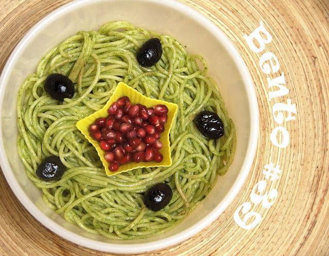 Prânzul la caserolă, spaghetti cu pesto