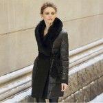 Women-Long-With-Fur-Collars-V-neck-Down-Jacket-Black