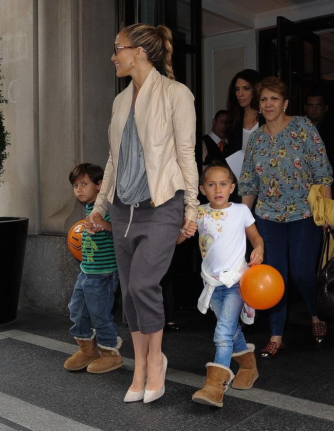 Jennifer Lopez with her kids Emme Maribel Muñiz, Maximilian David Muñiz today in NYC
