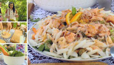 Din rețetele Natei Albot: Salată cu Somon. Te lingi pe degete!