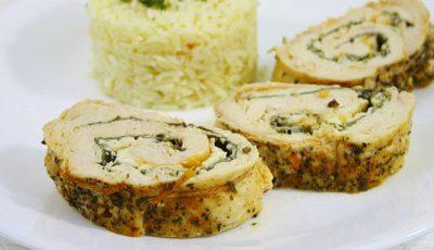 Ruladă de pui cu spanac și brânză