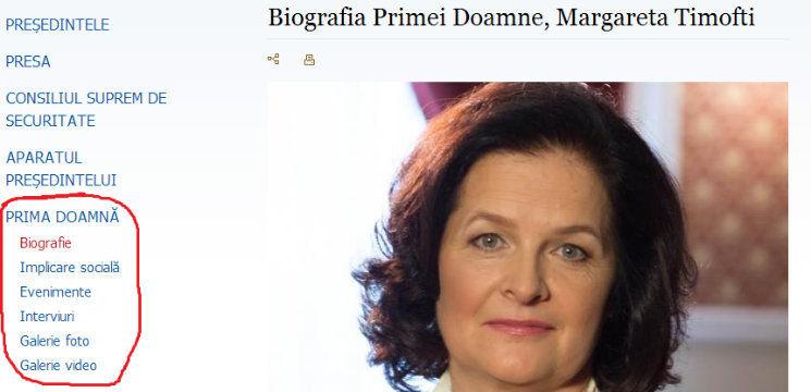 Foto: Prima Doamnă este foarte activă pe site-ul oficial al Preşedinţiei! Are chiar și o rubrică proprie!