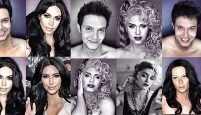 Vezi cum se transformă un tip în 16 celebrităţi de la Hollywood!