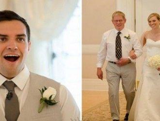 Reacțiile bărbaților atunci când își văd iubitele în rochie de mireasă