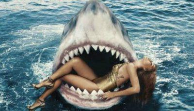 Rihanna a înotat cu rechinii. Ce nu faci pentru modă
