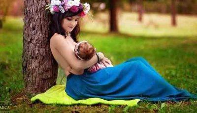 Poze curioase cu moldovence care îşi alăptează copiii