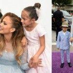 Foto: Jennifer Lopez şi-a luat şi copiii pe covorul violet. Vezi cât de adorabili au fost!
