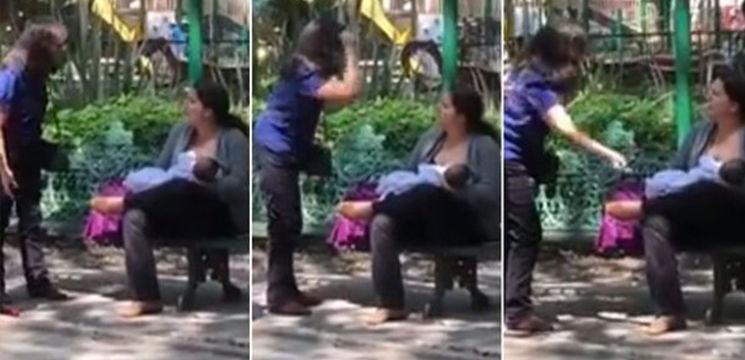 """Foto: O mamă care îşi alăptează copilul, în parc, a fost agresată de doi trecători: """"Nu-ţi este ruşine"""""""