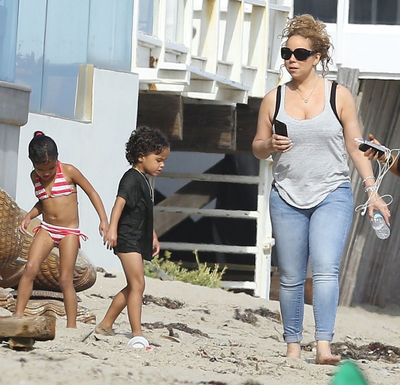 Mariah Carey Enjoys A Day On The Beach With Her Kids