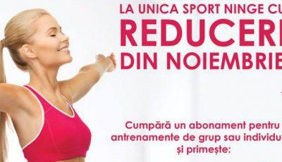 Din noiembrie, reduceri atractive la toate sălile Unica Sport!