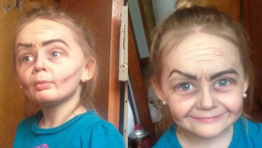 Foto: O copilă de trei ani cu față de femeie îmbătrânită a impresionat puternic internauţii!
