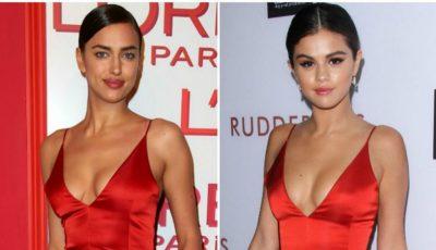 Selena Gomez și Irina Shayk, în rochii identice. Cui îi stă mai bine?