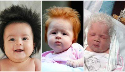 Poze! Bebeluşi cu cea mai bogată podoabă capilară la naştere