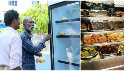 Proprietarul unui restaurant a amplasat un frigider cu mâncare în drum, pentru oamenii străzii!