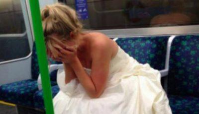 O fotografie cu o mireasă care plânge în metrou a devenit virală