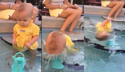 Un bebeluş s-a rostogolit şi a căzut în apă, cu faţa în jos într-o piscină! Vezi care a fost reacţia părinţilor săi