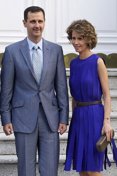 Syrian Arab Republic President Bashar al-Assad (L), his wife Asma al-Assad (C) and Queen Sofia of Spain (R) pose for photographers at Zarzuela Palace on July 4, 2010 in Madrid, Spain.
