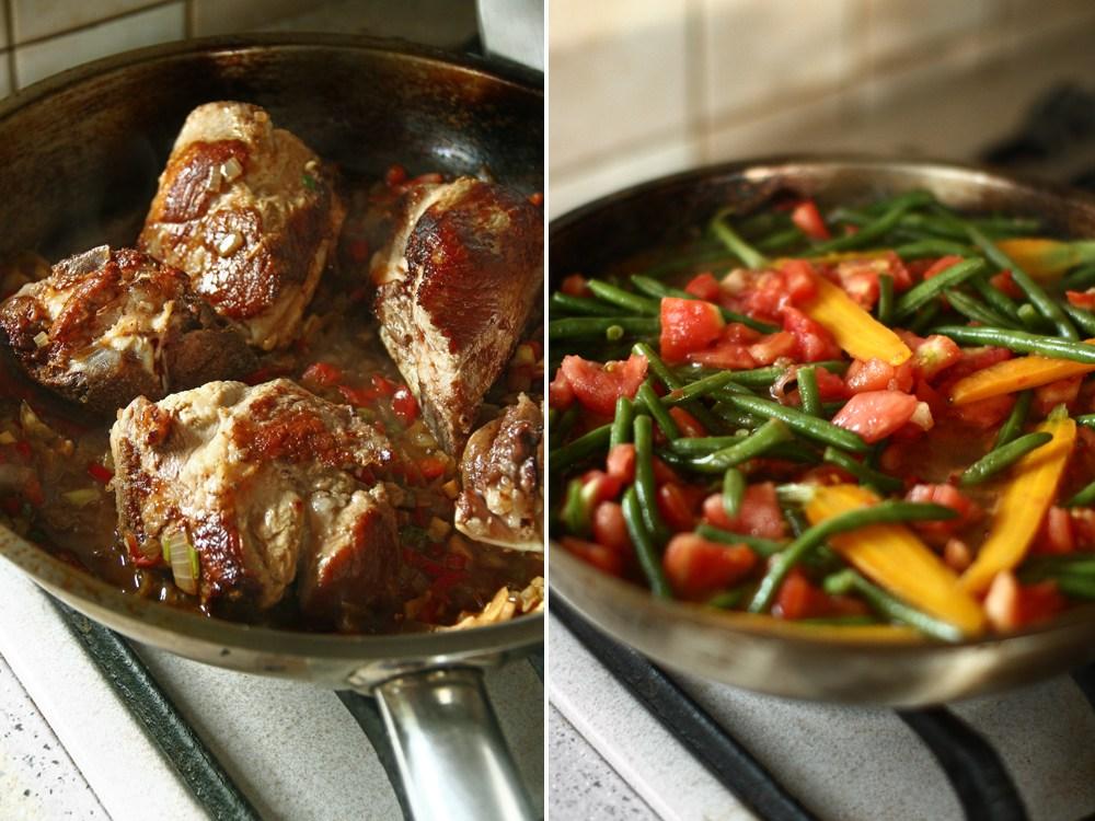 preparare-mancare-de-fasole-verde-pastai-cu-carne-de-porc-2
