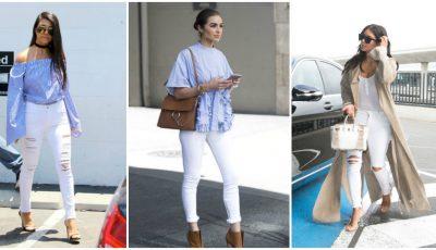 Alege jeanșii albi din denim. Uite cum îi combini