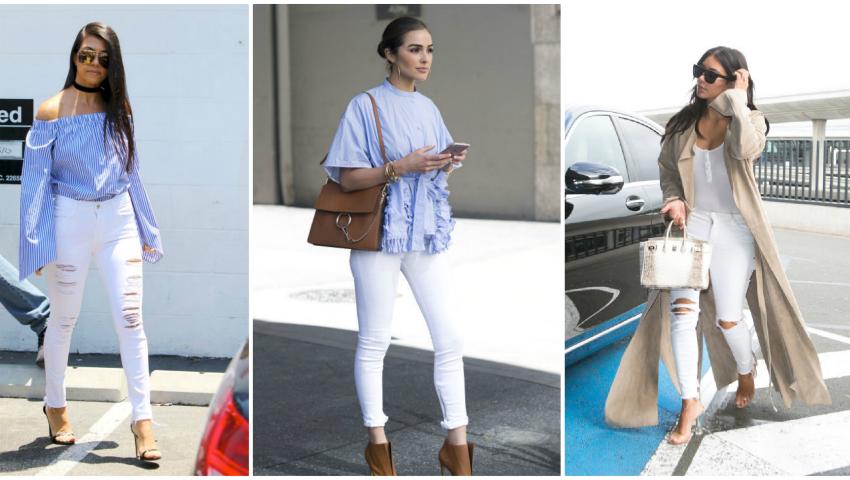 Foto: Alege jeanșii albi din denim. Uite cum îi combini