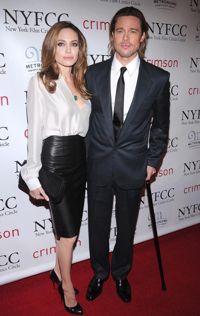 NEW YORK, NY - JANUARY 09:  Angelina Jolie and Brad Pitt attend the 2011 New York Film Critics Circle awards at Crimson on January 9, 2012 in New York City.  (Photo by Dimitrios Kambouris/WireImage) 136641772