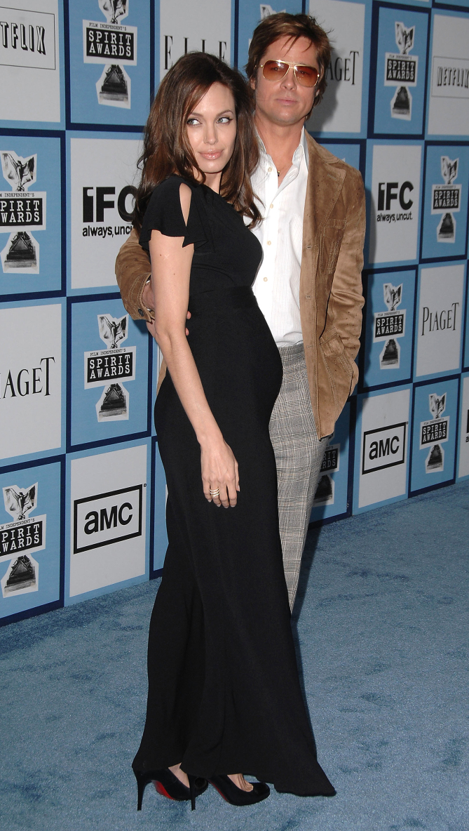 Actors Angelina Jolie and Brad Pitt arrives at the 2008 Film Independents Spirit Awards at the Santa Monica Pier on February 23, 2008 in Santa Monica, California. 2008 Film Independent's Spirit Awards - Red Carpet Santa Monica Beach Santa Monica, CA United States February 23, 2008 Photo by Jeff Vespa/WireImage.com To license this image (15543636), contact WireImage.com santa monica beach founder united states wireimage.com