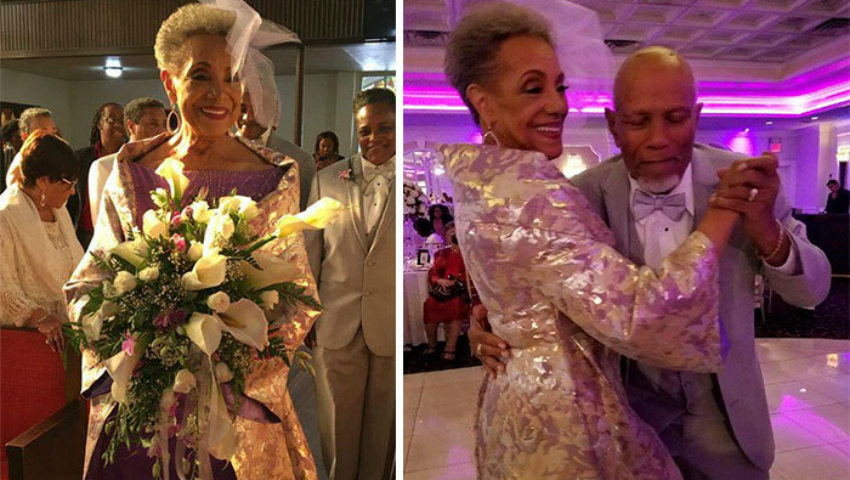 Foto: Mireasă la vârsta de 86 de ani și îmbrăcată în o rochie creată de ea