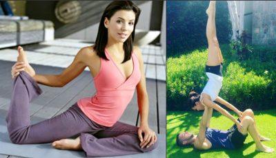 Eva Longoria execută exerciţii complexe cu instructorul personal de sport