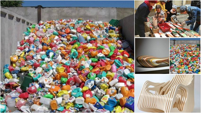 Foto: În Odessa, deșeurile de plastic se reciclează în bănci originale!