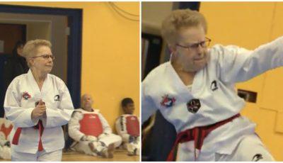 Video! La 72 de ani a obținut centura neagră la taekwondo
