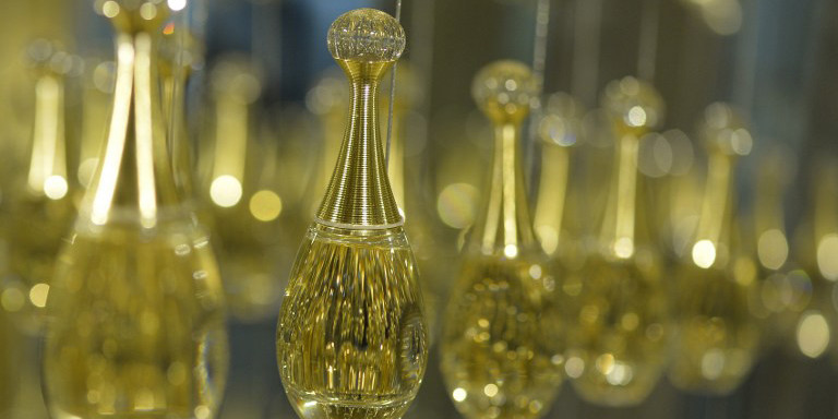 "View of ""J'adore"" perfume bottles at the fragrance workshop of French luxury brand Dior in Paris on June 15, 2013. AFP PHOTO / MIGUEL MEDINA / AFP PHOTO / MIGUEL MEDINA"