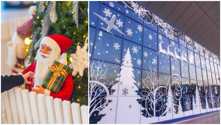 Foto: Aeroportul din Chișinău, de nerecunoscut! Iată cum a fost decorat cu ocazia Sărbătorilor de Iarnă