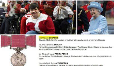 """O moldoveancă, decorată de regina Marii Britanii cu """"British Empire Medal""""!"""