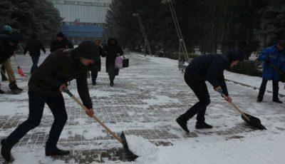 Medicii rezidenți curăță zăpada din preajma Spitalului Clinic Republican