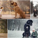 Foto: Un fotograf a realizat o colecție impresionantă de imagini cu micuți și patrupedele lor uriașe!