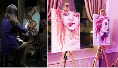 Nicoleta Vacaru, tânăra care pictează cu produse cosmetice!