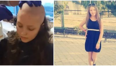 Adriana Proca, fata cu leucemie, a renunțat la păr