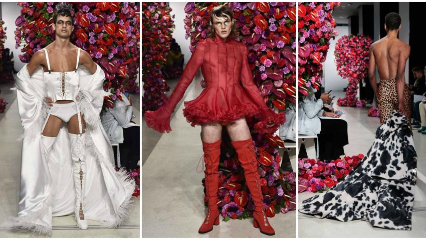 Foto: Bărbați în fuste și rochii. Vezi cum au defilat la Milan și Paris Fashion Week
