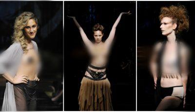 Femeile care au învins cancerul la sân, au ieșit topless pe podiumul de la Săptămâna Modei