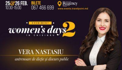 Vera Nastasiu îți va spune cum se cucerește lumea prin discurs la Woman's days in Chisinau