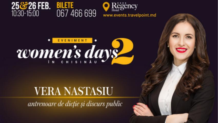 Foto: Vera Nastasiu îți va spune cum se cucerește lumea prin discurs la Woman's days in Chisinau