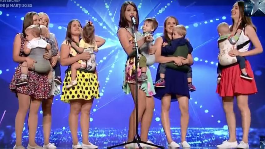 """Foto: Dans cu bebelușii în brațe! Un grup de mămici din Chișinău a făcut senzație la ,,Românii au Talent""""!"""